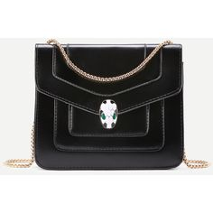 Snake Head Detail Crossbody Bag With Chain ($25) ❤ liked on Polyvore featuring bags, handbags, shoulder bags, crossbody purses, chain purse, chain crossbody, snake handbag and cross-body handbag