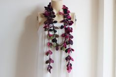 Feminine and stylish This crochet necklace scarf is made of super soft acrylic yarn. This scarf is perfect for ladies as well as tween/teen young ladies as well. You can wear it long, short, knotted the options is endless Material - acrylic yarn Care-Hand wash with soap The scarves are