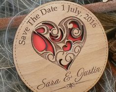 Wood Save-The-Date Magnets / Engraved Personalized Wooden magnets / Laser Cut Rustic Handmade Save the Date