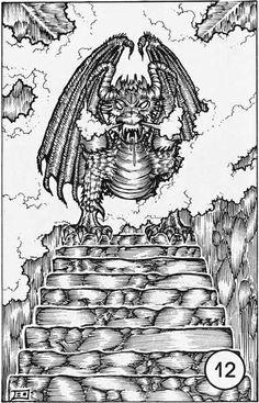 A steamy dragon statue stands atop the stairs. (Erol Otus from AD&D module C1: The Hidden Shrine of Tamoachan, TSR, 1980.)