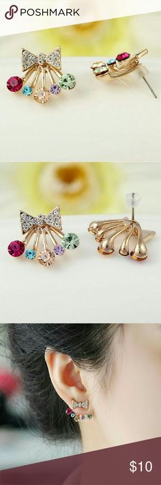 Cute bow jacket earrings $10 on each earring, choose which color,  bundle deal: pick any additional jewelry on my list for just $5 more, let me know so I can set up a bundle of $15! Jewelry Earrings