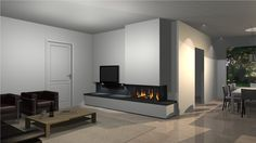 Gashaard in combinatie met televisie. Gas Fires, Home Living Room, Showroom, Building, Insert, Wood Stoves, Home Decor, Fire Places, Drawing Rooms