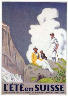Vintage Travel Poster - Summer in Switzerland.