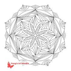 Printable Mandala Coloring-012, Instant Download, Printable Mandala, Meditation, releases stress - Digital Download