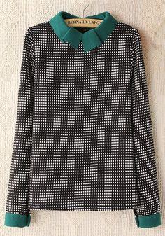 Green Polka Dot Long Sleeve Cotton Blend Blouse via Veronica Partridge