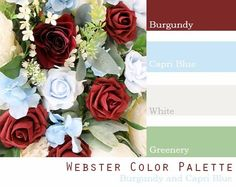 $250 Wedding Flower Package in burgundy, wine, capri blue, baby blue, dusty blue and white Burgundy Wedding Flowers, Red Bouquet Wedding, October Wedding Colors, Summer Wedding Colors, Wedding Color Pallet, Wedding Colour Schemes, Color Schemes, Wedding Flower Packages, Theme Color