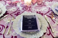Silver Scalloped Wedding Charger with Black Menu Car | Modern, Purple Indian Wedding