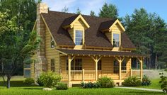 Mountain Laurel - Log Home / Cabin Plans--Maybe include a wrap around porch and a small dogrun to a detached carport/garage.