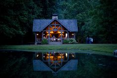 Dusk surrounds the Yallerhammer picnic pavilion at Blackberry Farm in Walland, Tennessee.