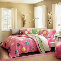 Love the thought of creating a corner style headboard for a teen's room. Perfect for hanging out with friends, reading,etc