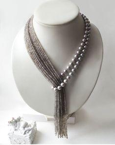 Corbata elegante collar con las perlas de agua dulce naturales de alta calidad y la ágata facetas. ¡Adorno muy acogedor y amable! ¡Universal, para todas las ocasiones! Disfrute o sorprender a tus familiares... Puede regular longitud voluntariamente. Puede mover Pajarito fácilmente a