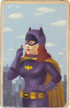 """Batgirl"" (Mixed Media on Antique Photograph, 7 x 5 Inches)"
