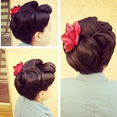 This is one of my favourite, quick retro up dos. Two large victory roll in the front, loosely sweep up the back and pin the ends behind a flower or bow. So simple.