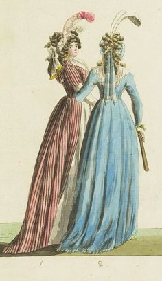 Fashion print (in colour) from 'Journal Fur Fabrik Manufaktur, Handlung und mode', 1795. ModeMuseum Provincie Antwerpen, Public Domain