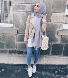 Nude leather jacket and grry-bluish hijab - check out: Esma <3