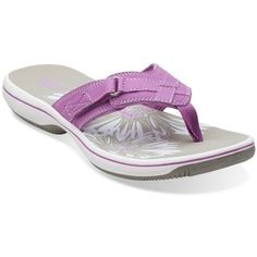 Shop for Women's Breeze Sea Sandal by Clarks at ShopStyle. Beach Flip Flops, Purple Shoes, Summer Shoes, Clarks, Casual Shoes, Footwear, Breeze, Purses, Shoe Bag