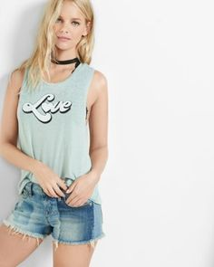 express one eleven 70S love graphic burnout tank