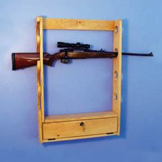 """Locking Gun Rack Pattern:  This good-looking gun rack features a locking ammo box with key. Holds 4 guns safely and securely. Complete crafting and assembly directions are easy to follow and precisely designed to guarantee project success. 35""""H x 24""""W x 4""""D.  Pattern #1789  $10.95     ( crafting, crafts, woodcraft, pattern, woodworking ) Pattern by Sherwood Creations"""