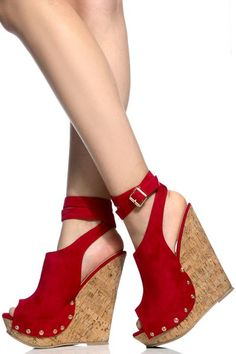Red Faux Suede Wrap Around Cork Wedges Platform Wedges Shoes 3434f7e75a