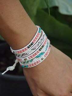 5 times Wrap Bracelet Pink Coral Crystal beaded mix by G2Fdesign