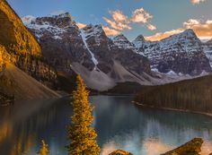 ***Moraine Lake sunset (Banff, Alberta) by Mark Bowen on Moraine Lake, Summer Sunset, Rocky Mountains, In The Heights, Alaska, Landscape Photography, Sunrise, Scenery, Travel