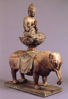 普賢菩薩騎象像-fugenbosatsukizouzou-(samanta bhadra) One of bodhisattvas. It is expressed in the figure which rides on a white elephant and joins the palms together. It means being a bodhisattva who explains the mercy and intellect of the Buddha and saves people. As for 普賢菩薩, being enshrined beside 釈迦如来(Shaka Nyorai) is common. 大倉文化財団(ookurabunkazaidan)