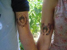 Matching acorn bride and groom tattoos - Top 10 Wedding Tattoos Married Couple Tattoos, Couple Tattoos Love, Real Tattoo, I Tattoo, Tattoo Life, Ring Tattoos, Sleeve Tattoos, Couple Tattoos Unique Meaningful, Acorn Tattoo