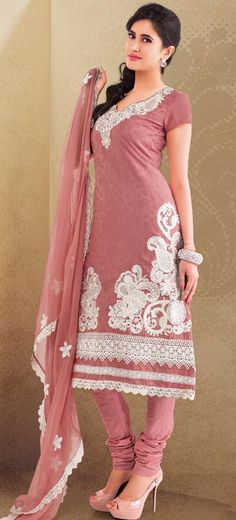$63.7 Pink Embroidered Cotton Churidar Salwar Suit 23940