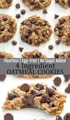 Flourless, egg free and no sugar added. These cookies come out soft and chewy. Banana Oatmeal Cookies, Healthy Oatmeal Cookies, Whole Food Recipes, Cookie Recipes, Dessert Recipes, Healthy Desserts, Easy Desserts, Breakfast Cookies, Breakfast Sandwiches