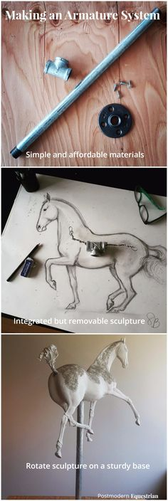 How to make a removable armature stand for your sculptures. #art #sculpture #horseart #equineart #airdryclay #diy