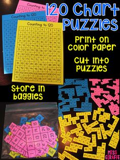 Make 120 chart puzzles by cutting up 120 charts... easily differentiate your math centers by how small you cut the pieces