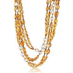 Verdura Raja Necklace Citrine, South Sea cultured pearl, diamond and gold.