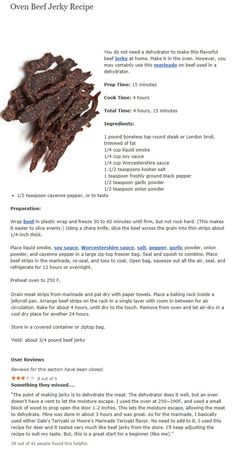 Oven Beef Jerky Recipe Replace liquid smoke with smoke paprika Jerky Recipes, Venison Recipes, Deer Jerky Recipe, Smoker Recipes, Beef Jerkey, Homemade Beef Jerky, Deer Recipes, Biltong, Dehydrator Recipes