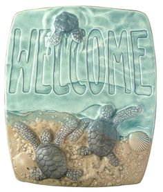 Baby sea turtle Welcome An absolutely charming way to welcome other beach lovers to your nest.  Very detailed sculpted tile of baby green sea turtles scurrying into the ocean made of ceramic using a variety of glazes. Each tile is made totally by hand, created from a mold made from the original sculpture. Every tile is made one at a time using wet clay, trimmed, dried, fired, glazed and fired a second time. Each tile has a cavity cut into the back so it will easily hang on a nail in the…