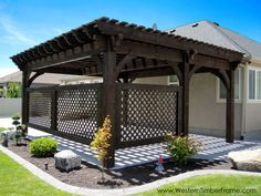 A modern pergola adds style and shade to your backyard. When you want to build a pergola to your patio or backyard, surely you will need posts, larger pots for plants, and other materials. Timber Pergola, Wooden Pergola, Outdoor Pergola, Backyard Pergola, Backyard Landscaping, Cheap Pergola, Pergola Lighting, Steel Pergola, Landscape Lighting
