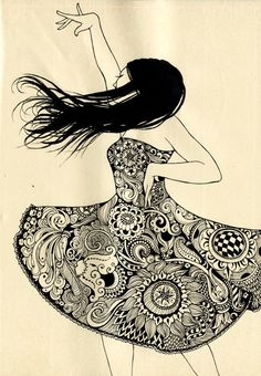 Sveta Dorosheva  Im attracted to the random design of the dress, reminds me of something I drew once