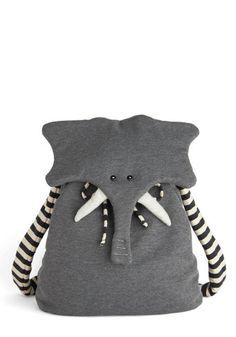 Back Pachyderm - Grey, Black, White, Print with Animals, Kawaii, International Designer, Cotton, Travel, Quirky