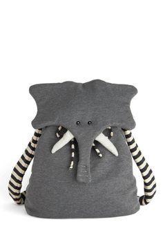 Back Pachyderm - Grey, Black, White, Print with Animals, Kawaii, International Designer, Cotton, Travel, Quirky