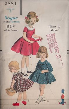 MOMSPatterns Vintage Sewing Patterns - Vogue 2881 Vintage 50's Sewing Pattern BEAUTIFUL Girls Easy to Make Shirley Temple Full Circle Skirt Collared Party, Fancy Dress & Blouse Slip, Petti-Blouse