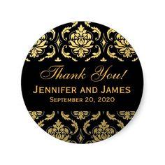 Gold Black Wedding Damask Thank You Label Round Stickers