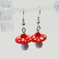 Just the thing for spring!  LEGO Mushroom / Toadstool Dangle Earrings by FoldedFancy on Etsy, $16.00