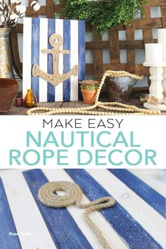 Making this DIY nautical rope decor in minutes with these easy instructions! Rope wall art is a great way to add that beachy feel! Rope Crafts, Diy And Crafts, Burlap Crafts, Beach Crafts, Shell Crafts, Nautical Rope, Nautical Theme, Nautical Bedroom, Nautical Wall Decor