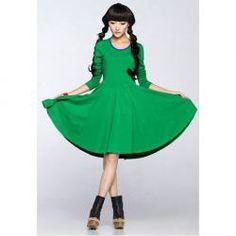 Ethnic Style Scoop Neck Narrow Waist Full-Skirted Long Sleeves Dress For Women