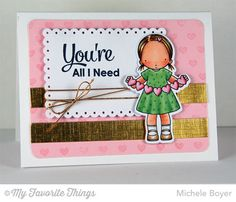 Heart Banner stamp set and Die-namics, Smitten with You, Tiny Hearts Background, Tag Builder Blueprints 3 Die-namics - Michele Boyer #mftstamps