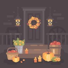 Autumn on Behance Autumn Illustration, Flat Design Illustration, Christmas Illustration, Types Of Drawing, Harvest Season, Fall Harvest, Autumn Fall, Digital Art Tutorial, Lanterns Decor