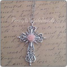 Silver Filigree Cross Necklace,Vintage Cross Necklace,  Shabby Chic Necklace, Silver Cross, Cross Rose Necklace