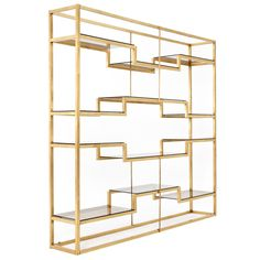 rare freestanding wall unit in solid tubular brass, not brass coated iron (which most items are produced from) - italy - att to romeo rega - 1970s - LENGTH: 	7 ft. 2.6 in. (220 cm)  DEPTH: 	16.54 in. (42 cm)  HEIGHT: 	7 ft. 4.6 in. (225 cm) - via morentz