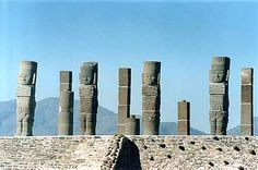 Atlantean figures at the ruins of Tula, in Hidalgo, Mexico.  Tula is believed to be the legendary Toltec capital of Tollán.