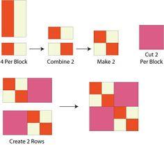 Assemble the Double Four Patch Quilt Block