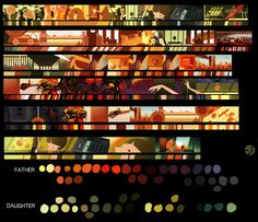 colorscript for this years film. The film will be finished in April. Color Script, Animation Background, Art Background, Colour Pallete, Color Schemes, Animation Storyboard, Pixar, Mood Colors, Landscape Concept